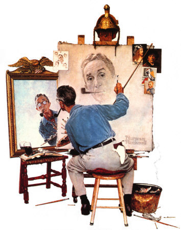 norman-rockwell-triple-self-portrait-poster-card-c10230690-750732