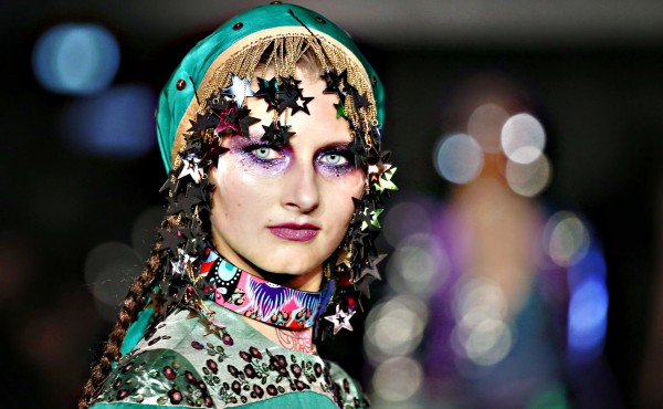 A model presents a creation by Indian designer Manish Arora as p