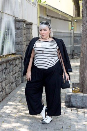 moda para executivas wide plus size pantacourt