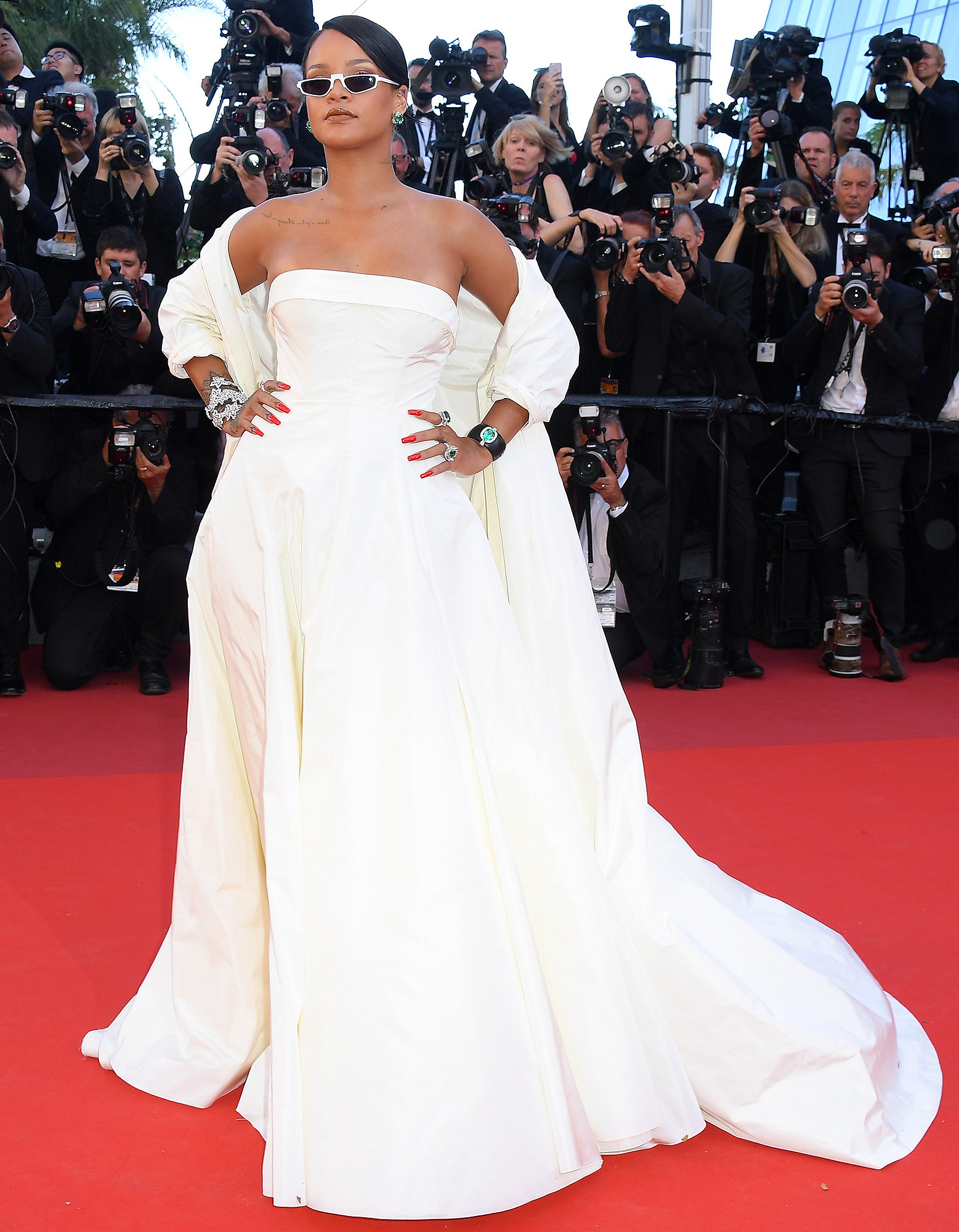"""CANNES, FRANCE - MAY 19:  Rihanna attends the """"Okja"""" screening during the 70th annual Cannes Film Festival at Palais des Festivals on May 19, 2017 in Cannes, France.  (Photo by Dominique Charriau/WireImage)"""